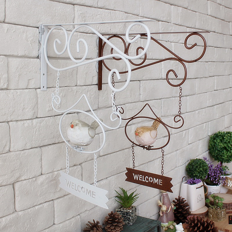 Vintage Home Decor cafe clothing store wall decorative wrought iron birds welcome tag Vintage Metal Signs 36cm(China (Mainland))