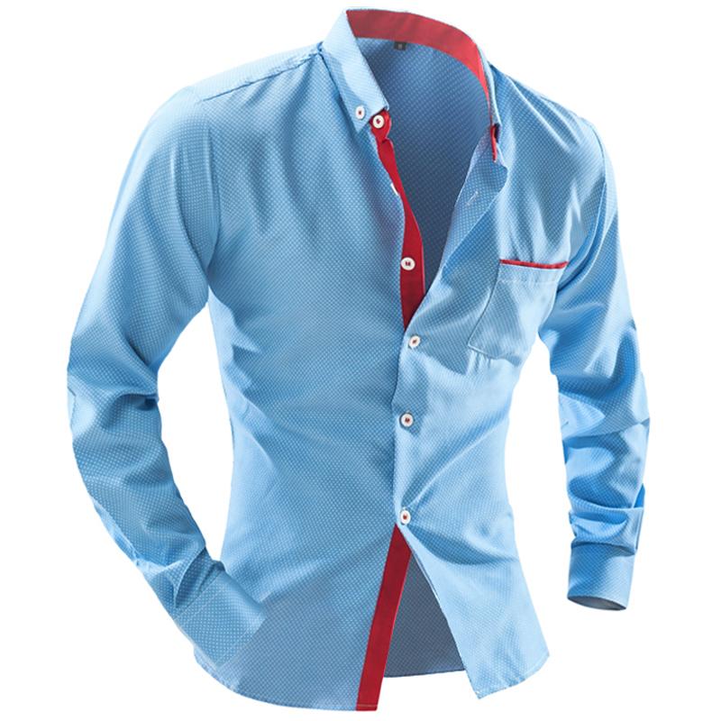 Men Shirt Long Sleeve 2016 Brand Shirts Casual Male Slim Fit Polka Dot Pocket Decoration Mens Camisas Dress Shirts Men XXL TREIQ(China (Mainland))