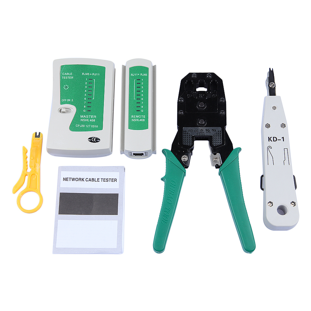 RJ45 Crimper RJ11Cat5 Cat6 LAN Tester gridseed Handheld Network Cable Tester Wire Telephone Line Detector Tracker Tool kit(China (Mainland))
