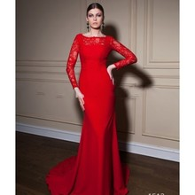 Buy Elegant Lace Sweep Train Mermaid Evening Dresses 2017 Modest Red Full sleeve Prom Dress robe de soiree Women Long Formal Gowns for $122.18 in AliExpress store