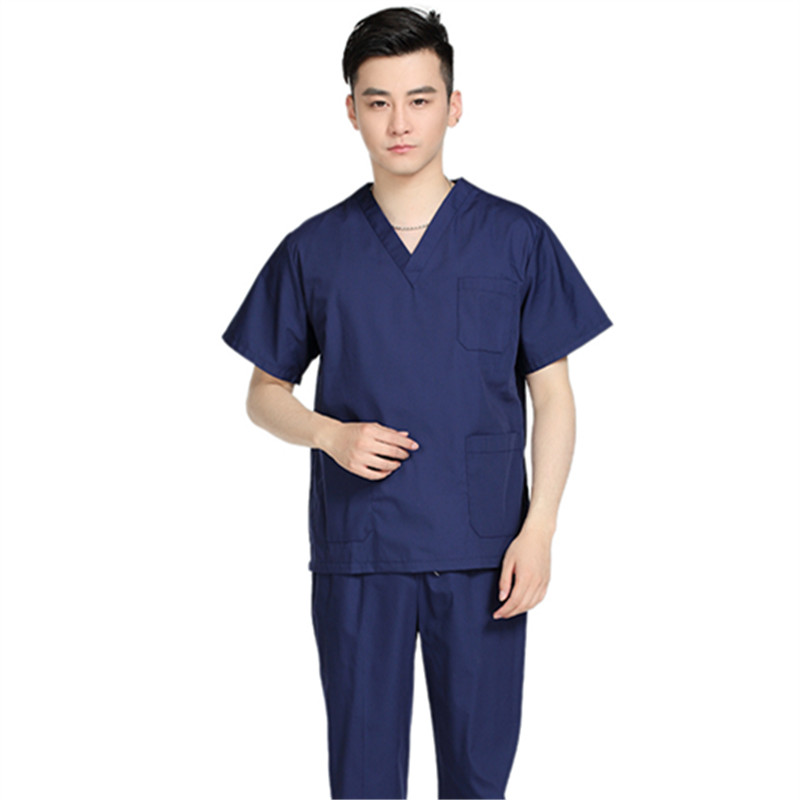 New Men Medical Scrub Sets Hospital Doctor Uniforms Dental Clinic Beauty Salon Short Sleeve Medical Workwear High Quality 2333(China (Mainland))