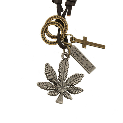 2015 Harajuku Marijuana Style Weed Necklace Chunky Maple Leaf Cross Dog Tag Pendants Women Necklace Long Leather Choker Jewelry(China (Mainland))