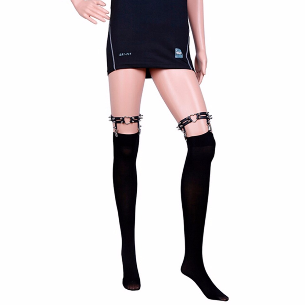 Cosplay Newest Sexy Studded Heart Garter Rivet Punk Goth Harajuku Handmade Garter Belt Leg Ring for women gift(China (Mainland))