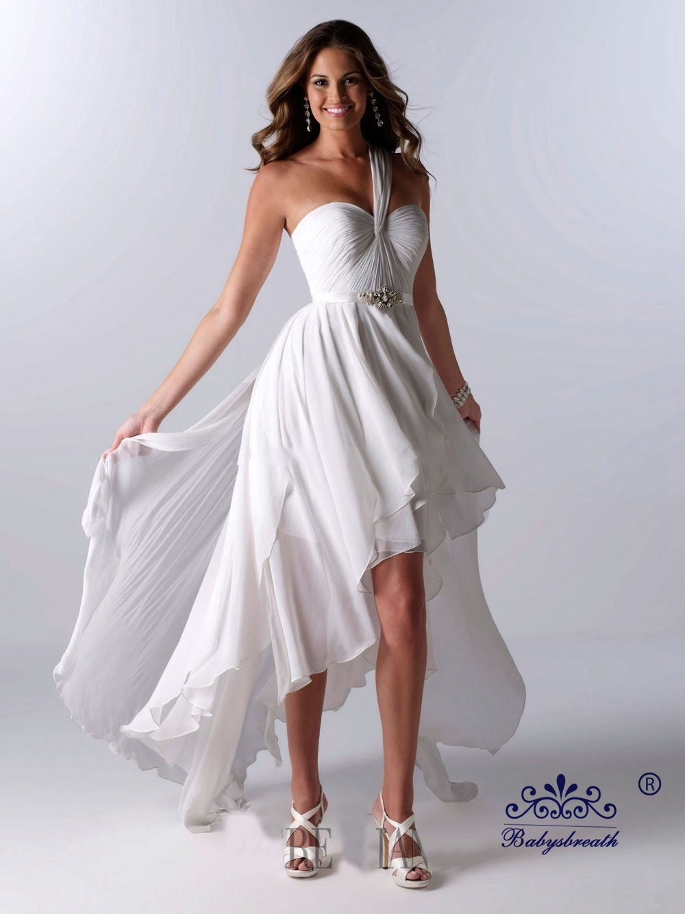 Hot selling white chiffon one shoulder high low short for Short wedding dress for beach