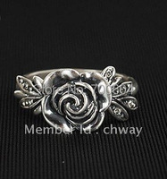 cute girls vintage antique black silver rose flower leaves leaf charm cheapest price simple metal Rings accessories