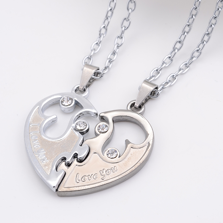 I Love You Couples Lover Pendant Necklaces For Women And Men ,Hight Quality Stainless Double Heart Necklace Jewelry(China (Mainland))
