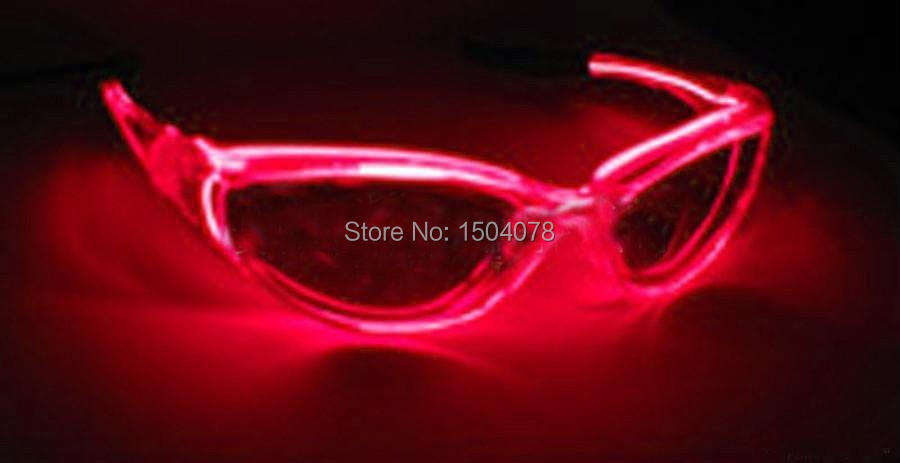 Top El Wire Fashion Neon LED Light Up Shutter Shaped Glasses Rave Costume Party 2014 free shipping(China (Mainland))