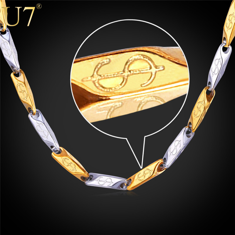 Dollar Necklace Men Jewelry Stainless Steel Chain 2015 New 18K Two Tone Gold Plated Party Hip Hop Gold Chains For Men N428(China (Mainland))