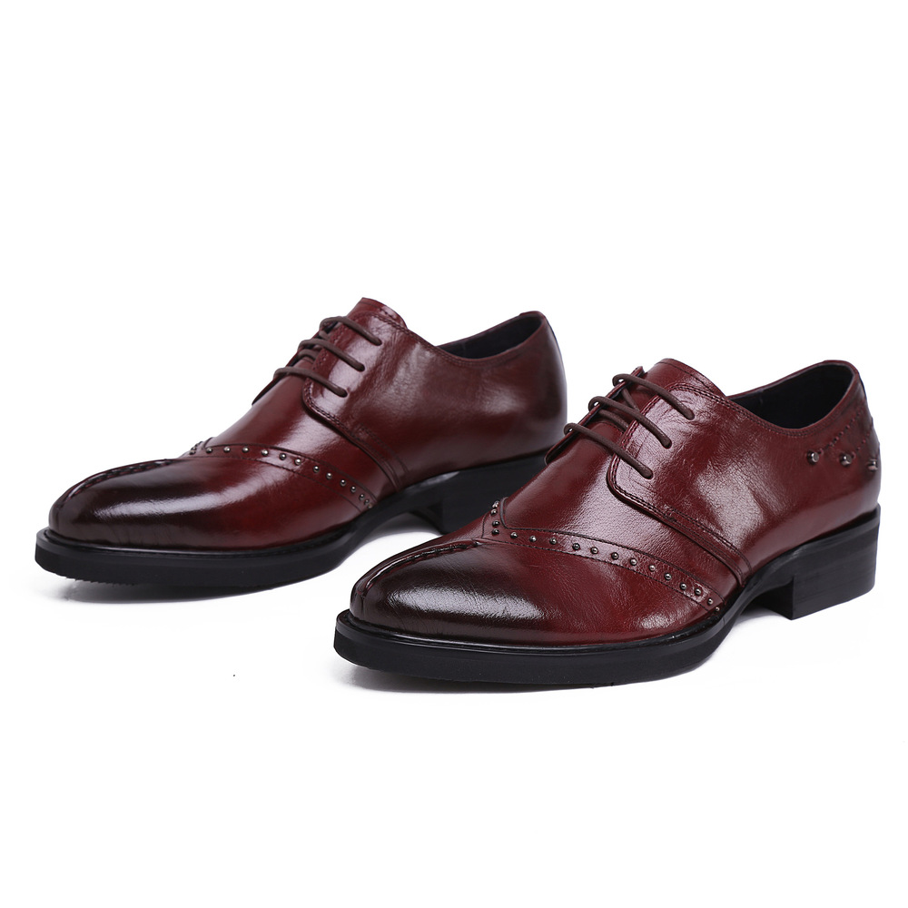 leather lace up black brown fashion rivets formal men shoe flats ...
