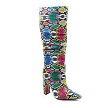 WETKISS renkli yılan cilt çizmeler kadın yüksek topuk kalın Boot yılan derisi sivri burun Zip ayakkabı kadın Slouch Boots pilili kış(China)