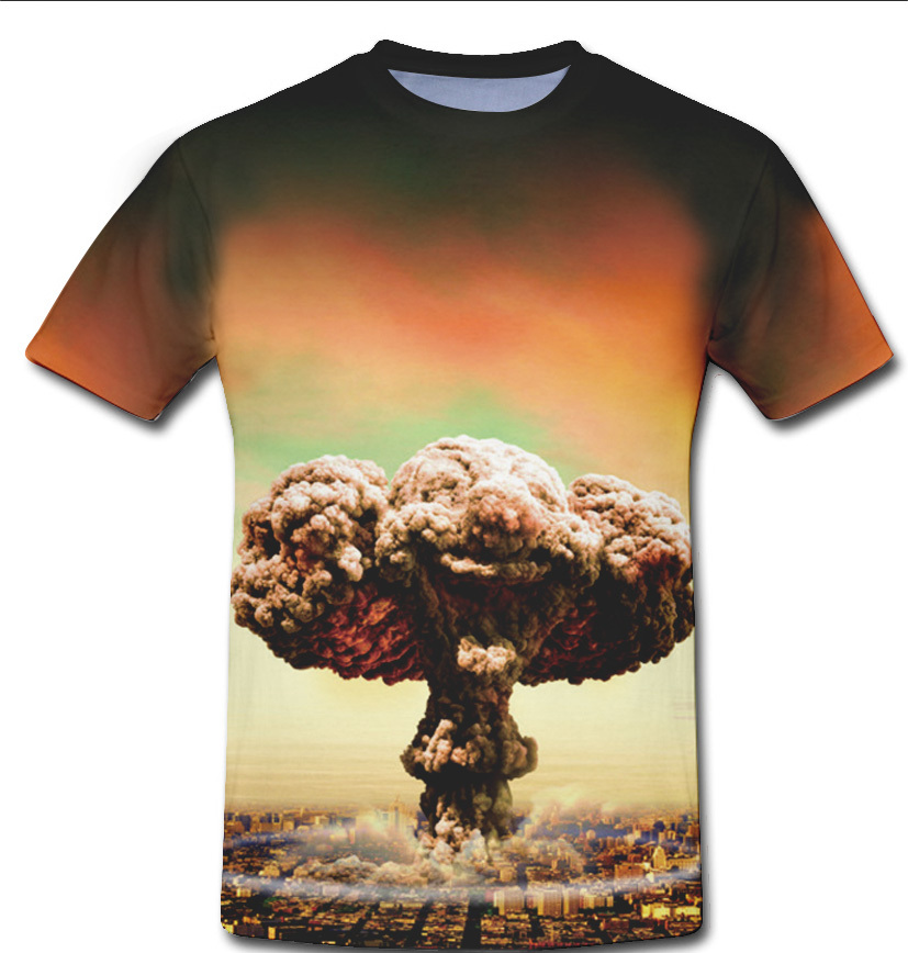 Personalized Stylish Mushroom cloud explosion 3d t shirt Doctor Who Design Men Tee Shirt Round Neck 2pac T-shirts Free Shipping(China (Mainland))