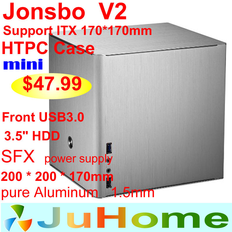 HTPC ITX Mini case of the computer all aluminum, mini case htpc Home theater multimedia computer, Jonsbo V2, Others V3+ V4(China (Mainland))