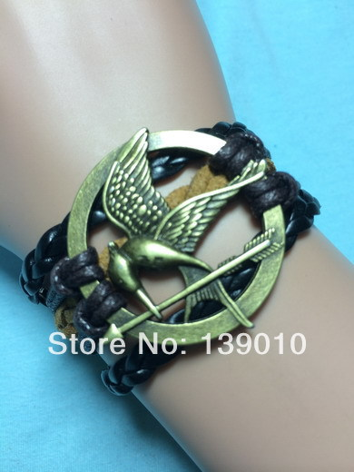 Woven Black Brown Leather Rope Bangles Retro Alloy Hunger Game Bird Strap Bracelet Charm Fashion Men Customize Wristband Jewelry(China (Mainland))