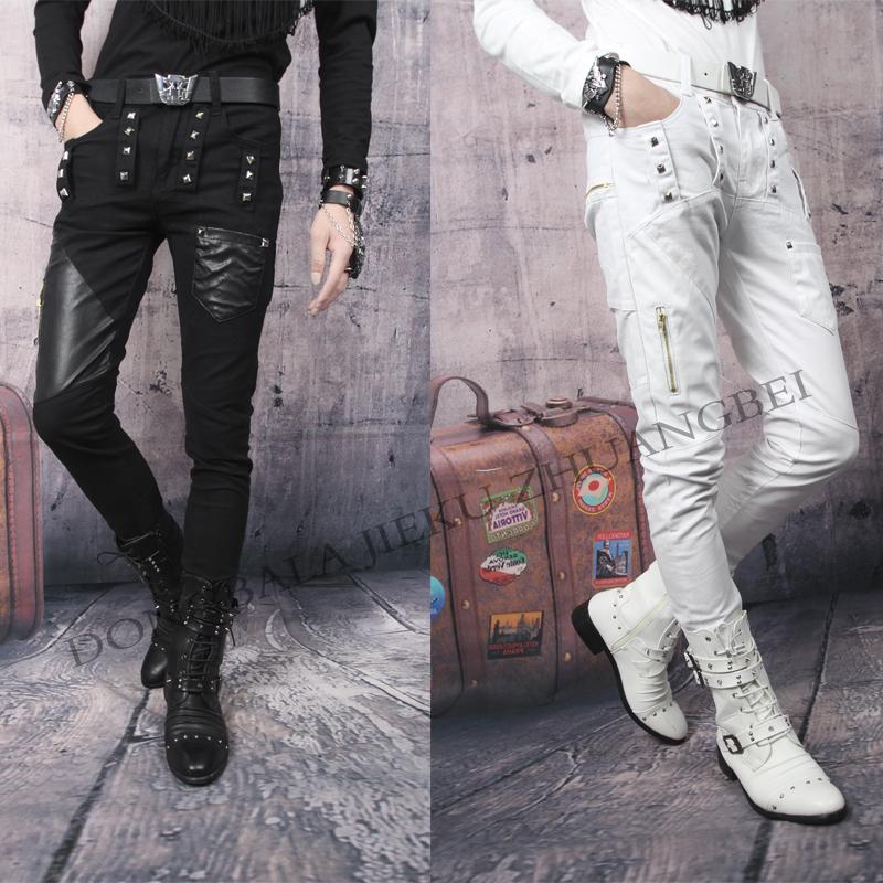 Spring black white Rivets splice pu pant slim mens leather pants men 1 trousers pantalones hombre skinny joggers - Fashion clothes store wang