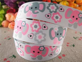 15051709, 7/8'' (22mm) 10 yards elephant printed grosgrain ribbons cartoon characters ribbon hair accessories