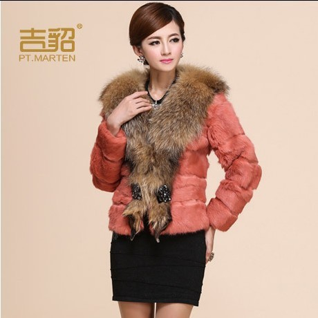 2013 Autumn and Winter Women's Genuine Rabbit Fur Coat with Raccoon Fur Collar Female Slim Outerwear VK1228