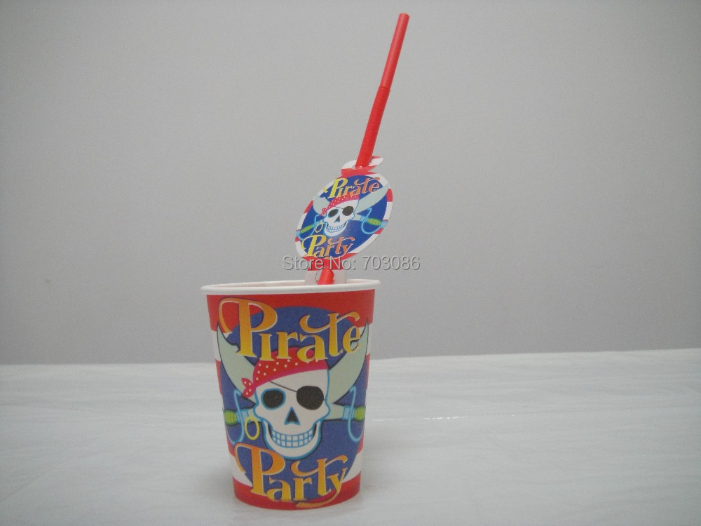 pirate party theme paper cup + theme straw tableware for birthday,party drinking cup*50pcs+straw 50pcs(China (Mainland))