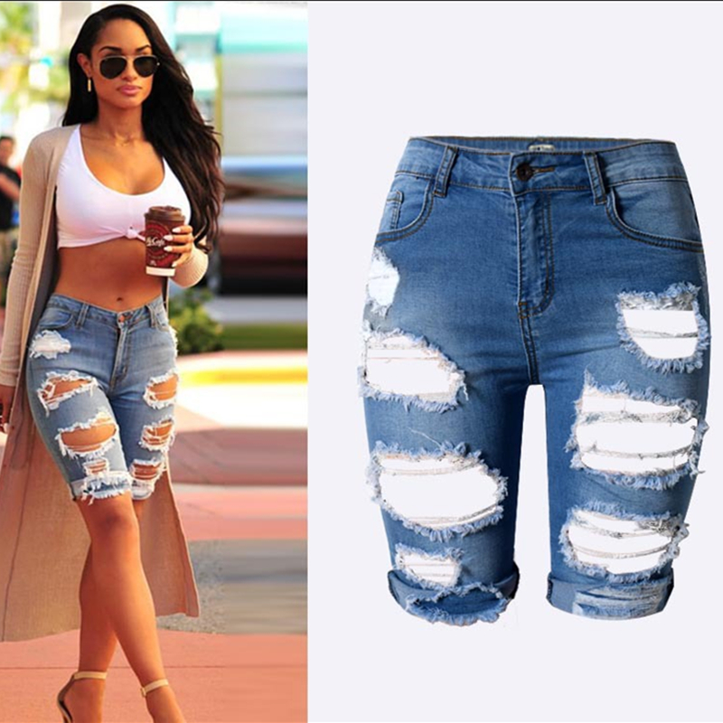 Aliexpress.com  Buy Fashion Knee Length Shorts Hole jeans woman Shorts ripped jeans women ...