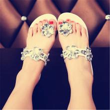 2016 Summer style fashion Womens Roman Bling Sandals wedges flats slip-on flip flops beach shoes female 35-39