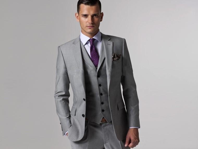 Custom Made Slim Fit Two Buttons Grey Groom Tuxedos Notch Lapel Best Man Groomsmen Men Wedding Suits Jacket+Pants+Tie+Vest