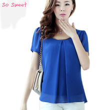 Fashionable New Trend Large Size Pure Color Chiffon Tops Fresh Summer Cozy Style Good Quality Loose Casual Blouse 7Color 9989 (China (Mainland))