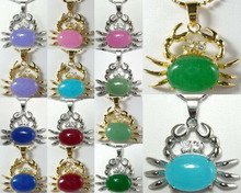 DD 11.23 14 color-13*18mm green/pink/blue/red/purple jade crab 18KGP pendant fast chain can choose Discount 35%(China (Mainland))