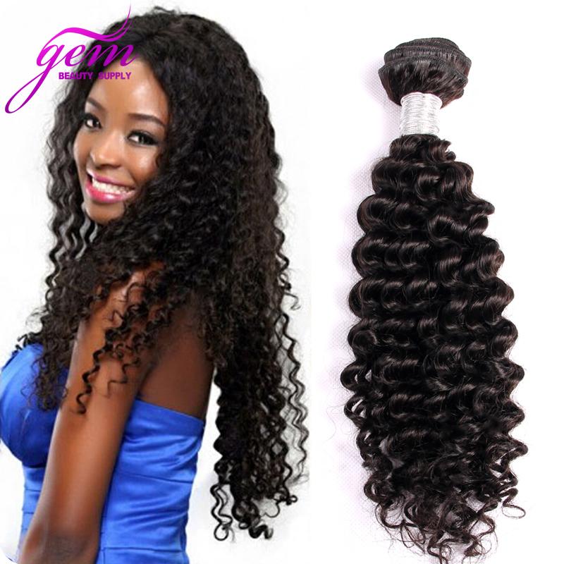 Brazilian Curly Virgin Hair Deep Wave 1pc Only Brazillian Kinky Curly Wave Hair Gem Beauty Bele Virgin Brazilian Hair Wave Black(China (Mainland))
