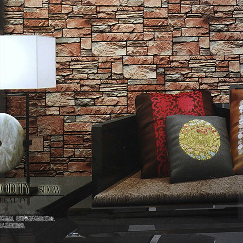 Stone brick wall paper red pvc wood wallpapers vintage for Sala de estar vintage