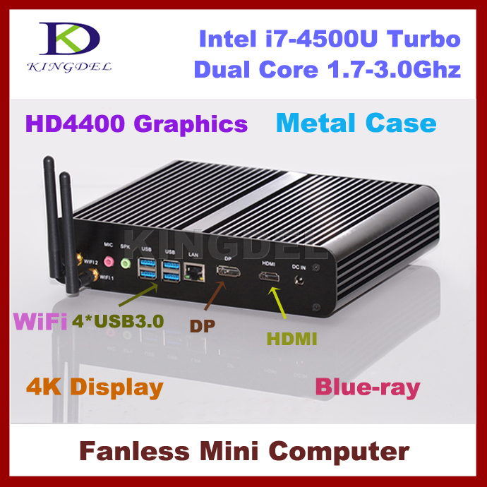 8G RAM+128G SSD+640G HDD,Fanless core i7 4500U embedded mini pc,Max 3.0Ghz,HTPC,4K DP,Intel HD4400 Graphics,300M WIFI Windows 7(China (Mainland))