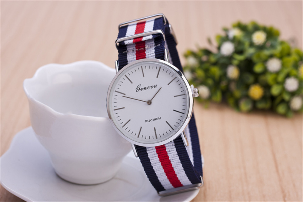 10pcs Luxury women dress Watch Multicolor Stripe Nylon Fabric Canvas Sports men Watch Super Thin Platimum Case Geneva Wristatch<br><br>Aliexpress