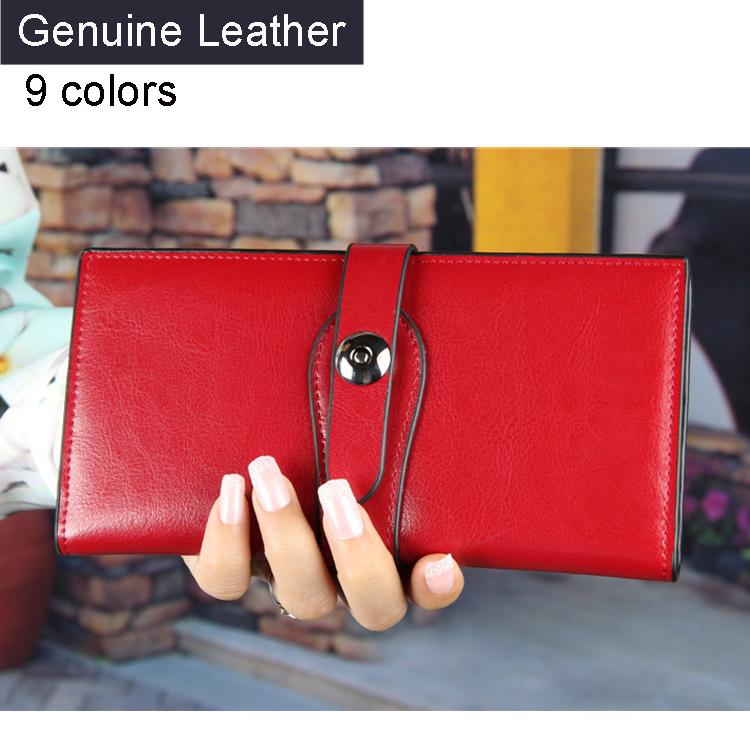 9 Colors Wallet Women Wallets Purse Genuine Cowhide Leather Wallet Purse Woman Female Leather Wallet 3009D
