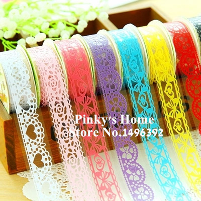 DIY Candy Colors Hot Lace Decoration Roll DIY Washi Paper Decorative Sticky Paper Masking Tape Self Adhesive Tape Scrapbook Tape(China (Mainland))