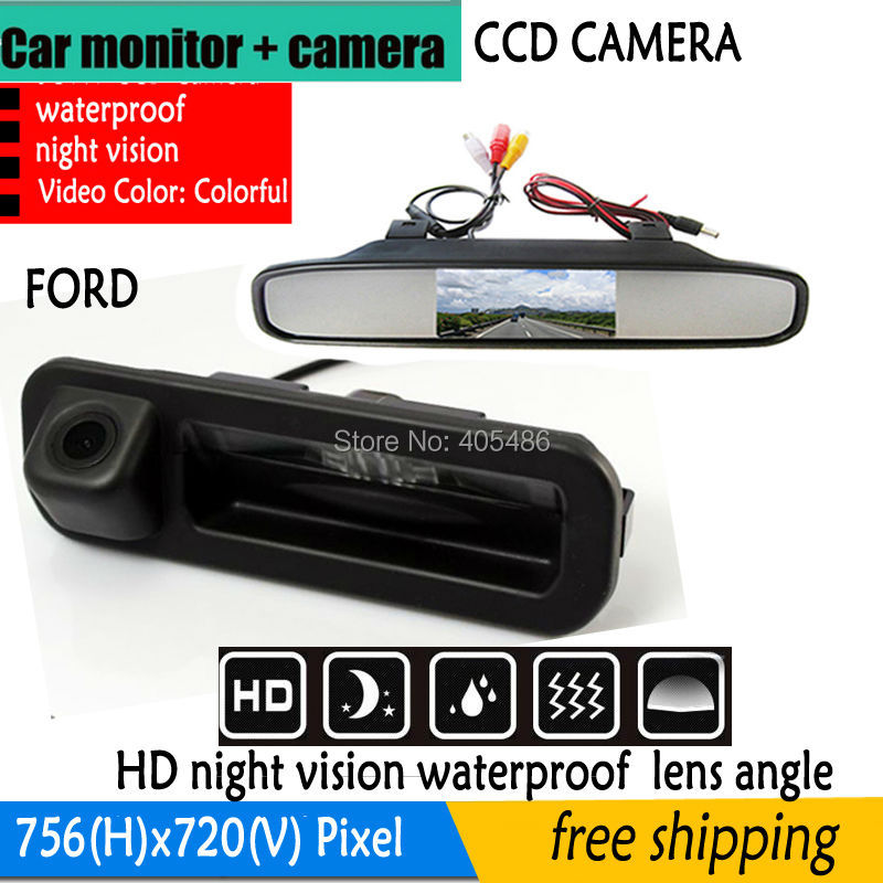 Parking System High Resolution Auto 4.3 Color Car Rear View Reverse Mirror Monitor + CCD trunk handle Ford Focus Mondeo Kuga - Fuway HK Co., Ltd store