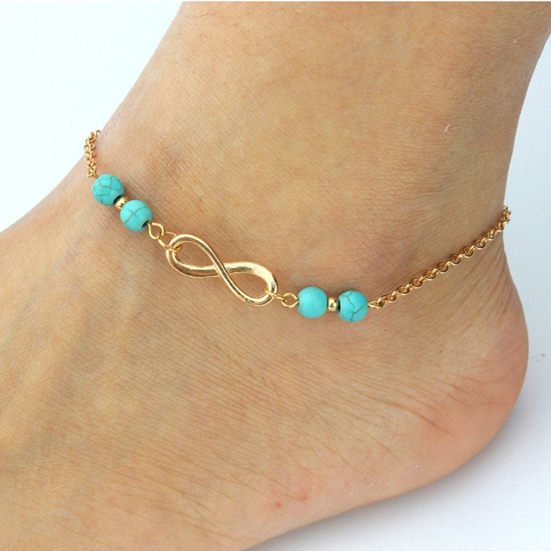 2016 New Summer Anklet Women Fashion Turquoise Beads Infinity Ankle Bracelet Barefoot Sandals Foot Jewelry Bracelet on the Leg(China (Mainland))