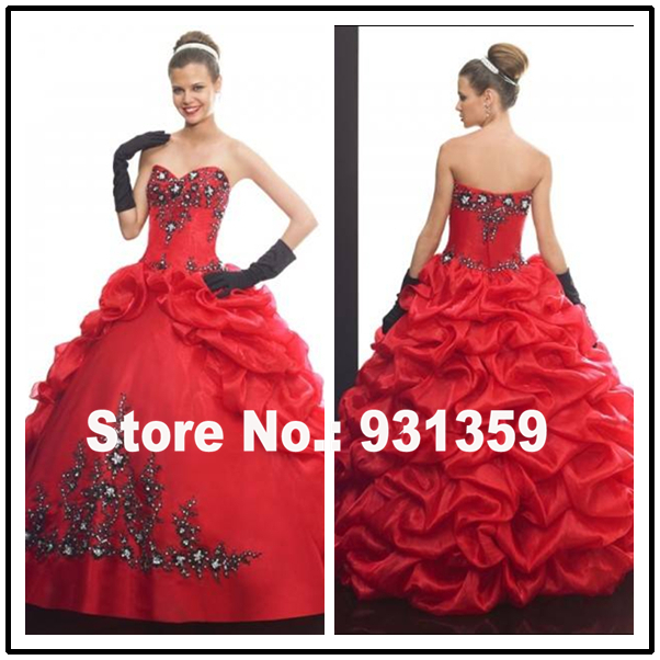 High Quality Sweetheart Custom Made Floor Length Ball Gowns Vestido De Festa Design QD92231 red black quinceanera dresses(China (Mainland))