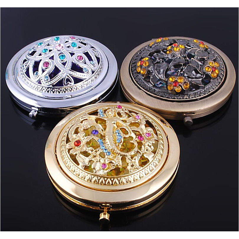 Vintage Portable Makeup Compact Mirror Small Folding Flowers Crystal Cosmetic Pocket Purse Hand Make Up Mirrors Beauty Tool Gift(China (Mainland))