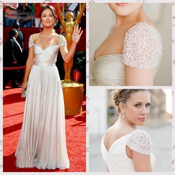 2015 Hot & Sexy Chiffon Fabirc Ivory Color Short Sleeve Name Brand Oscar Sexy Crystal Prom Dress(China (Mainland))
