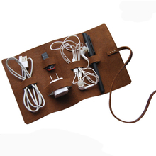 Handmade Genuine Leather Headphone Cable Data Cable Organizer  Charge Cable Storage Cord Wire Holder Multifunctional Digital Bag(China (Mainland))