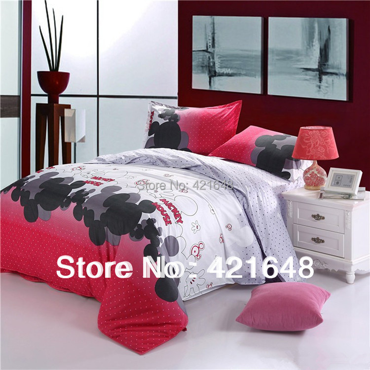 Free shipping beautiful Cartoon Mickey Mouse 3/4pcs bedding set twin/full/queen size bedclothes bed linen duvet cover(China (Mainland))