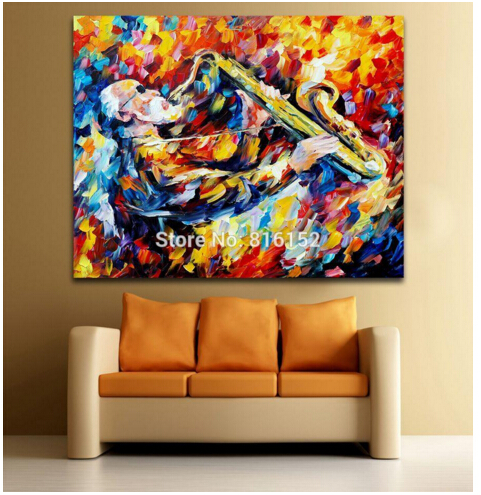 Palette Knife Painting Jazz Musicians Impressive Performance Picture Printed On Canvas For Home Office Hotel Wall Decor Art(China (Mainland))