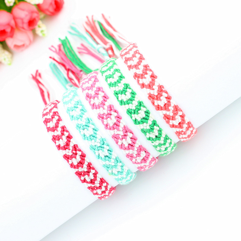 Korea Cotton Bracelets Braided Thin Heart-shaped Pattern Woven Brailian Handmade Bracelets for Women and Men(China (Mainland))