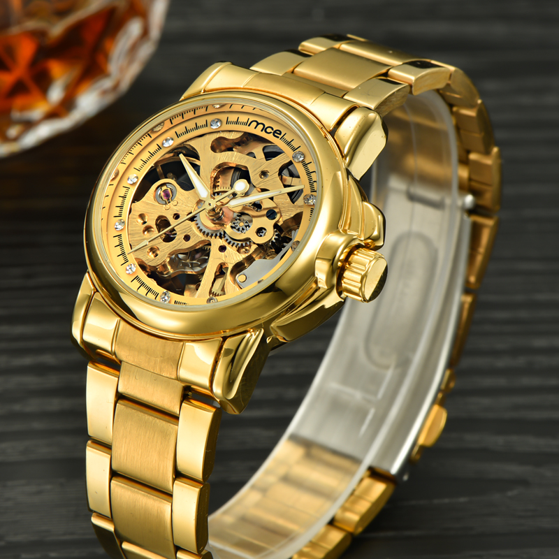 2016 New Women Mechanical Rhinestone Gold Watch Small Stainless Steel Automatic Self-wind Fashion ladies Watches golden Clock<br><br>Aliexpress
