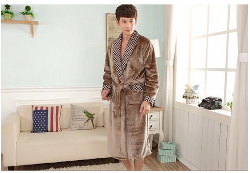 Winter Thickening Coral Flannel Nightgown Bathrobe Men Warm Robes ...