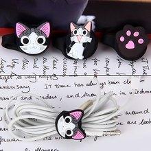 3 Pcs Earphone Headphone Cable Organizer Cute Cat Plastic Cable Winder Cable Holder Headphone Earphone Organizer Wire Holder(China (Mainland))
