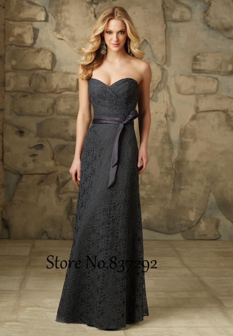 Cheap grey lace bridesmaid dresses sweetheart long floor for Gray dresses for a wedding