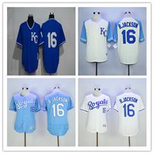 Men's 16 Bo Jackson Home Alternate Throwback Stitched Jerseys Blue White(China (Mainland))
