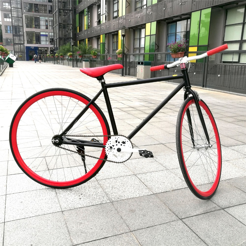 """Red 700c High carbon steel single speed bikes for men dirt racing road fixed gear bike bicycle by 26""""(China (Mainland))"""