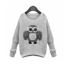 Women Sweater 2015 Fashion Owl Stereoscopic Thick Long Sleeve O-Neck Women Sweaters And Pullovers Black/Gray(China (Mainland))