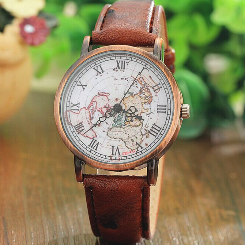 Vintage World Map Watch Ruman Number Men Watches Brown Leather Wrap unisex cl