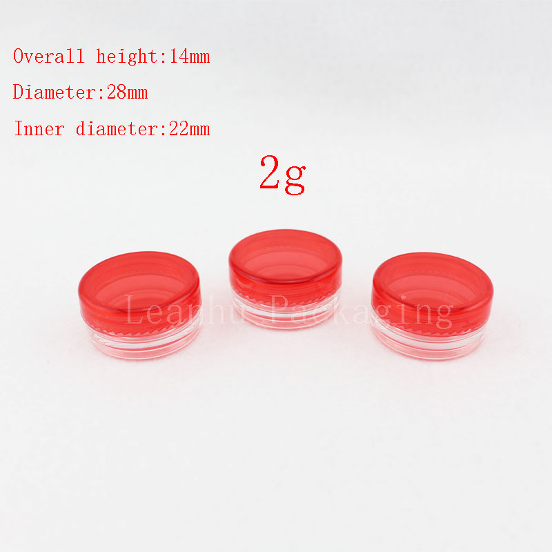 2g red empty cosmetic containers with screw cap, sample lip balm containers jar solid perfume container 2g plastic cream jars(China (Mainland))